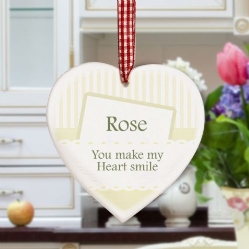 Personalised Elegant Cream Wooden Heart Decoration